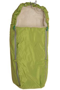 Конверт в коляску меховой зеленый