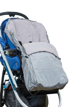 Конверт в коляску флисовый серый