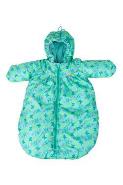 Конверт для новорожденного с ручками зеленый/бабочки