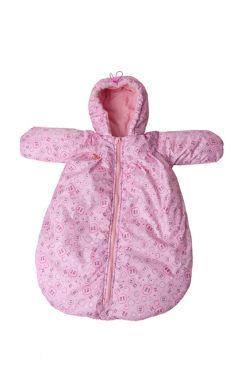 Конверт для новорожденного с ручками розовый/мотыльки