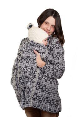 Слингокуртка флисовая «Мама Плюс» - серый/ромбы