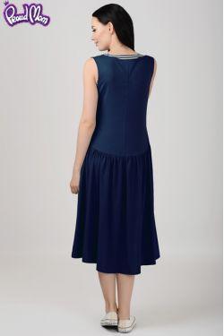 """Платье для кормящих мам  """"Гербера"""" темно-синее"""