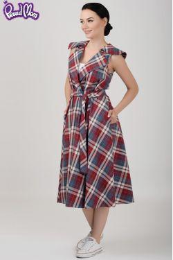 """Платье для кормящих мам """"Ретро"""" красно-синяя клетка"""