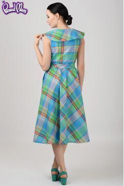 """Платье для кормящих мам """"Ретро"""" зеленая клетка"""