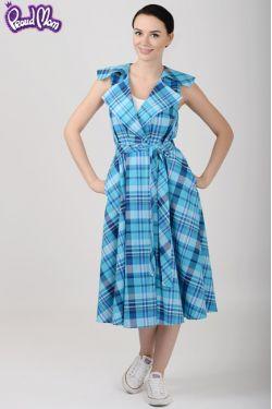 "Платье ""Ретро"" голубая клетка"