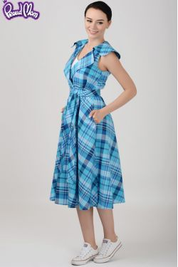 """Платье для кормления""""Ретро"""" голубая клетка"""