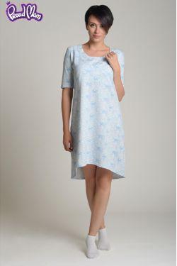 """Ночная сорочка для кормящих """"Цветы"""" голубая"""