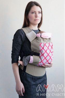 """Слинг-рюкзак Амама """"Легкий"""",  розовые цветы на красном"""