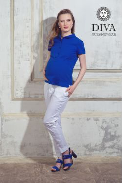 Футболка для беременных Diva Nursingwear Polo, цвет Azzurro
