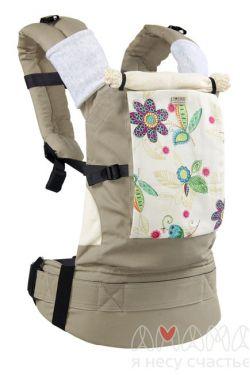 """Слинг-рюкзак Амама """"Классик"""", цветы на бежевом"""