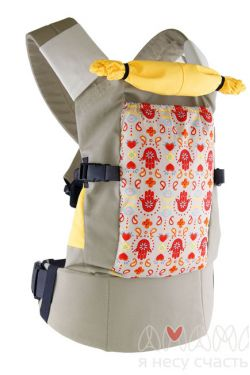 "Слинг-рюкзак Амама ""Легкий"", ладошки на бежевом"