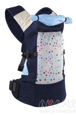 """Слинг-рюкзак Амама """"Легкий"""", разноцветные капли на сером"""