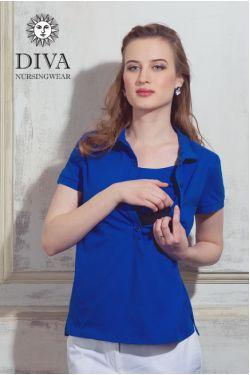 Футболка для кормления Diva Nursingwear Polo, цвет Azzurro