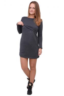 Платье для кормящих мам Л083 т.серый меланж