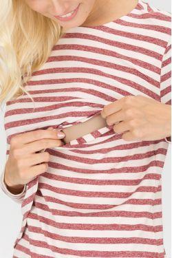 """Блуза для кормящих """"Морская"""" бордовая полоска"""
