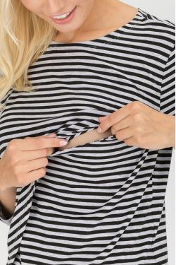 """Блуза для кормящих """"Морская"""" черно-серая полоска"""