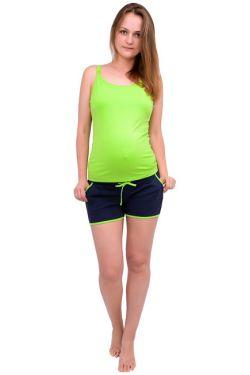 Шорты для беременных т. синий с салатовым