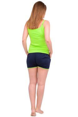Спортивные шорты для беременных Л051 т.синий с салатовым