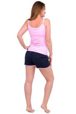 Спортивные шорты для беременных Л051 т.синий с розовым