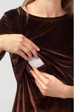 """Платье """"Бархатный вечер"""" шоколад для беременных и кормящих"""
