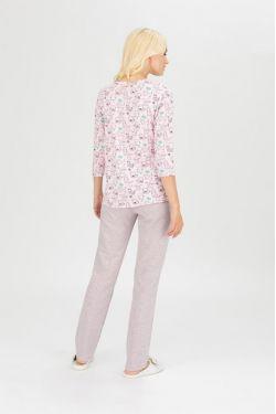 """Пижама для кормящих """"Коты"""" розовая"""