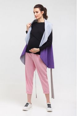 """Жилет для беременных двусторонний """"Овал"""" фиолетовый+серый меланж"""