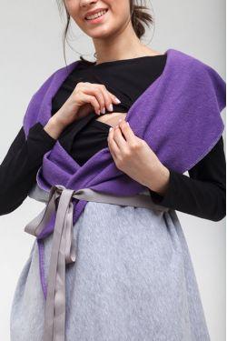 """Жилет для кормящий мам двусторонний """"Овал"""" фиолетовый+серый меланж"""