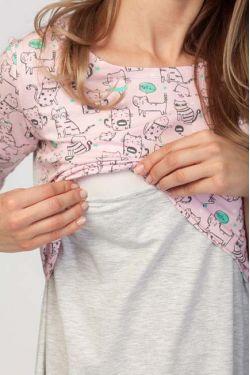 """Ночная сорочка для кормления """"Кошки"""" розовая"""