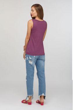 Майка для беременных Трапеция фиолетовая в горошек