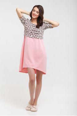 """Ночная сорочка """"Леопа"""" розовая"""