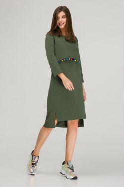 """Платье с длинным рукавом """"Карусель"""" хаки"""