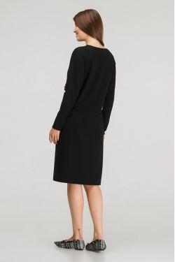"""Платье с длинным рукавом """"Карусель"""" черное для кормления"""