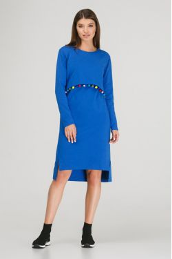 """Платье с длинным рукавом """"Карусель"""" ярко-синее"""