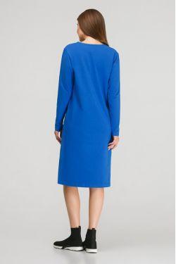 """Платье с длинным рукавом """"Карусель"""" ярко-синее для кормления"""