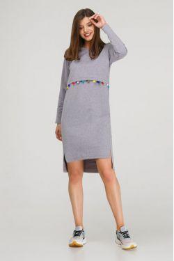 """Платье с длинным рукавом """"Карусель"""" серый меланж"""