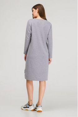 """Платье с длинным рукавом """"Карусель"""" серый меланж для беременных и кормящих"""
