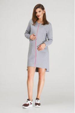 """Платье-толстовка """"Молния"""" серое с розовым для беременных"""