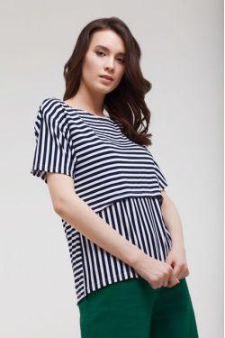 """Футболка """"Линия"""" бело-синяя для беременных и кормящих"""