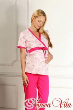 Пижама с запахом для беременных Elegante mamma розовый/фуксия