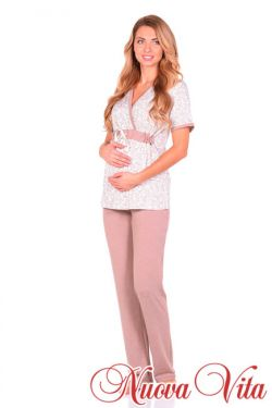 Пижама с запахом Elegante mamma молочный/т. мокко