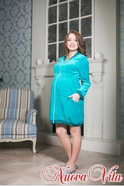 Халат велюровый с молнией для беременных Mamma bella 302.03