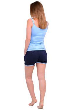 Шорты для беременных т. синий с голубым