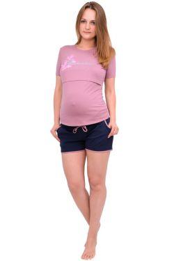 Шорты для беременных т. синий, пудра
