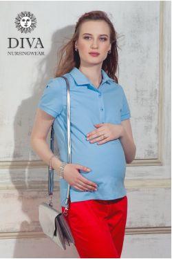 Футболка для беременных Diva Nursingwear Polo, цвет Celeste