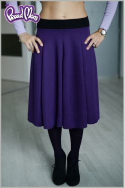 """Юбка-миди """"Шесть лепестков"""" фиолетовая для беременных и родивших"""