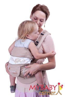 Эрго-рюкзак My Baby Stile, бежевый, бабочки