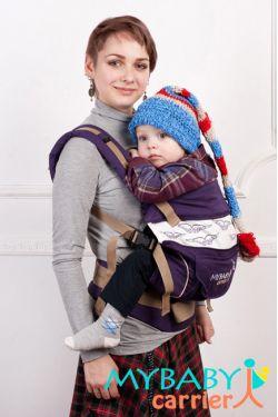 Эрго-рюкзак My Baby Stile, фиолетовый, птицы