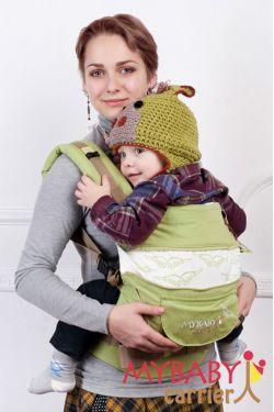 Эрго-рюкзак My Baby Stile, салатовый, птицы