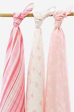 Комплект муслиновых пеленок для новорожденных Jollein, Hearts pink