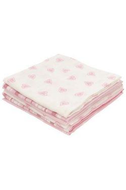 Комплект муслиновых пеленок для новорожденных Jollein Hearts pink